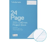 Officeworks Studymate 333x240mm 100gsm 8mm Ruled Project Book 25 Page