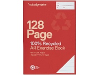 Officeworks Studymate A4 70gsm 8mm Ruled Recycled Exercise Book 128 Page