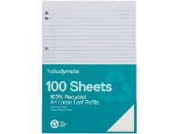 Officeworks 100 Pack Studymate A4 70gsm 8mm Ruled Recycled Loose Refills