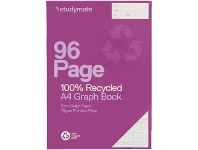 Officeworks Studymate A4 70gsm Recycled 5mm Graph Book 96 Page