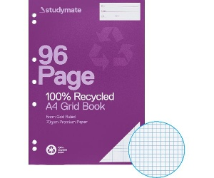 Studymate A4 70gsm Recycled 5mm Grid Book 96 Page