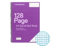 Studymate A4 70gsm 5mm Grid Spiral Notebook 128 Page