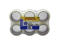 Officeworks Nachi Clear Packaging Tape 48mm x 75m Roll 46 Micron 6 Pack