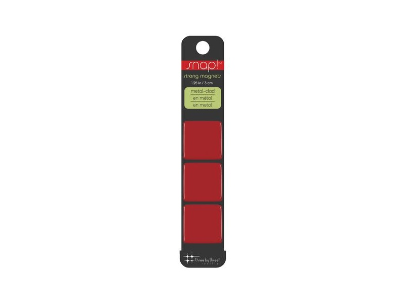 Three By Three Snap! Strong Large Magnets Red 3 Pack