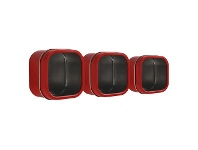 Officeworks Three By Three Magnetic Storage Tin Red 3 Pack