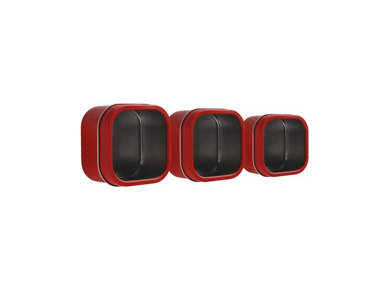 Three By Three Magnetic Storage Tin Red 3 Pack
