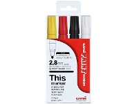 Officeworks Uni PX-20 Paint Marker Assorted 4 Pack