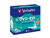 Officeworks Verbatim DVD-RW 4.7GB 2x Jewel Case 5 Pack