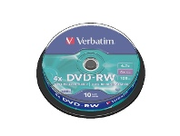 Officeworks Verbatim DVD-RW 4.7GB 4x Spindle 10 Pack