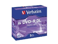Officeworks Verbatim DVD+R DL 8.5GB 8x Jewel Case 5 Pack
