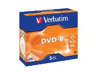 Officeworks Verbatim DVD-R 4.7GB 16x Jewel Case 5 Pack