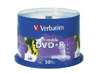 Officeworks Verbatim DVD+R 4.7GB 16x White Inkjet Spindle 50 Pack