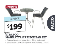 Stratco Stratco Manhattan 3 Piece Bar Set