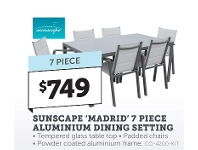 Stratco Sunscape Madrid 7 Piece Aluminium Dining Setting