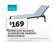 Stratco Sunscape Madrid Aluminium Padded Sunlounge