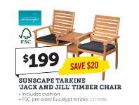 Stratco Sunscape Tarkine Jack And Jill Timber Chair